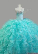 Elegant Beaded Sweetheart Quinceanera Dresses in Aqua Blue