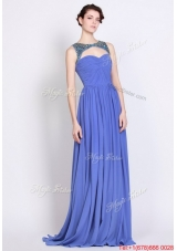 Pretty Bateau Zipper Up Blue Prom Dresses with Brush Train