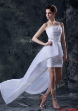 Great Affordable Column One Shoulder High low Wedding Dresses with Appliques