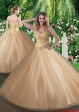 2016 Affordable A Line Champagne Sweet 16 Gowns with Beading