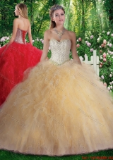 2016 Pretty Ball Gown Beading and Ruffles Sweet 16 Gowns