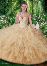 Elegant Straps Beading Sweet 16 Gowns in Champange