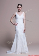 Great Perfect Mermaid Lace Brush Train Wedding Dresses for Garden