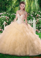 Luxurious Ball Gown Champange Quinceanera Dresses with Beading and Ruffles