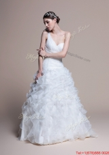 Pretty Classical A Line One Shoulder Wedding Dresses with Ruffles