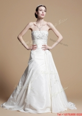 Pretty Classical A Line Strapless Wedding Gowns with Beading and Appliques