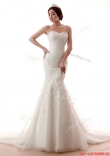 Pretty Remarkable Mermaid Hand Made Flowers Wedding Gowns with Court Train