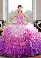2015 Fashionable Beading and Ruffled Layers Multi Color Dresses for Quince