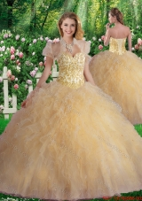 2016 Luxurious Sweetheart Champagne Quinceanera Dresses with Beading