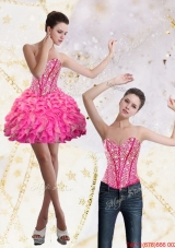 Detachable 2015 Sweetheart Mini Length Prom Skirts with Beading and Ruffles