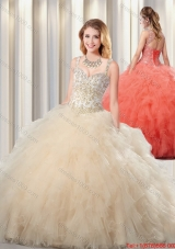 Exquisite Puffy Straps Champagne Quinceanera Dresses for 2016