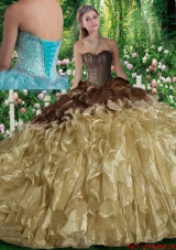 Luxurious Ball Gown Beading Sweet 16 Dresses with Brush Train