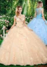 New Arrivals Straps Beading Champagne Sweet 16 Dresses