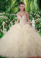 Romantic Ball Gown Champagne Sweet 16 Dresses with Beading and Ruffles
