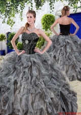 New Arrivals Beaded and Ruffles Sweet 16 Dresses in Black for Summer