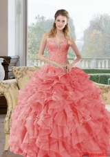 2015 Elegant Beading and Ruffles Quinceanera Dresses in Watermelon