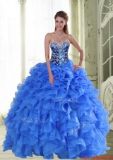 2015 Elegant Beading and Ruffles Strapless Sweet 15 Dresses in Blue