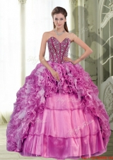 2015 Exquisite Sweetheart Beading and Ruffles Dress for Quinceanera