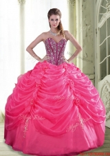 Designer Beading and Hand Made Flowers Quinceanera Dresses for 2015