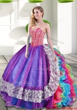 Designer Sweetheart Beading and Ruffles 2015 Quinceanera Dresses in Multi Color