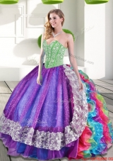 Elegant Beading and Ruffles 2015 New Style Quinceanera Dresses in Multi Color