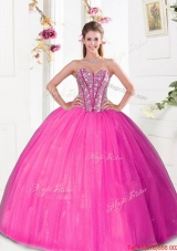 Fashionable Beading and Pick Ups 2015 Quinceanera Dresses in Hot Pink