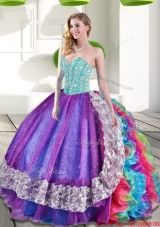 Sweetheart Multi Color Vestidos de Quinceanera with Beading and Ruffles
