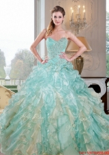 2015 Designer Sweetheart Dress for Quince with Beading and Ruffles