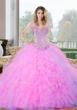 2015 Sophisticated Beading and Ruffles Sweetheart Quinceanera Gown
