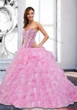 2015 Sweetheart Beading and Ruffles Rose Pink Vestidos de Quinceanera
