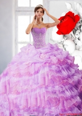 Artistic Strapless Appliques and Ruffles 2015 Sweet Fifteen Dress in Lilac