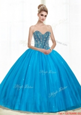 Elegant Sweetheart Ball Gown Beading Quinceanera Dresses in Teal