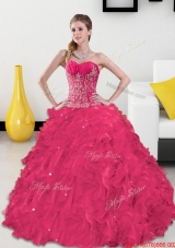 Inexpensive Sweetheart Sweet Fifteen Dresses with Appliques and Ruffles