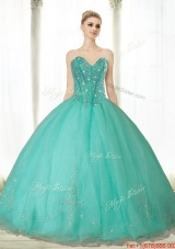 Most Popular Beading and Appliques Turquoise Sweetheart Quinceanera Dresses for 2015