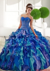 Most Popular Sweetheart 2015 Quinceanera Gown with Appliques and Ruffles