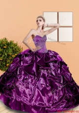 2015 Designer Beading and Pick Ups Sweetheart Quinceanera Dresses in Purple