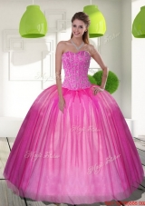 2015 Designer Beading Sweetheart Ball Gown Quinceanera Dresses
