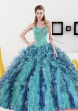 2015 Fashionable Sweetheart Quinceanera Dresses with Appliques and Ruffles