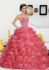 2015 New Style Sweetheart Quinceanera Dresses with Appliques and Ruffled Layers