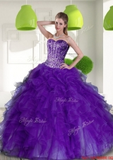 Designer Beading and Ruffles Sweetheart 2015 Quinceanera Dresses in Purple