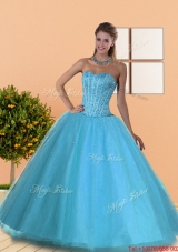 Elegant Beading Sweetheart Blue Quinceanera Dresses for 2015