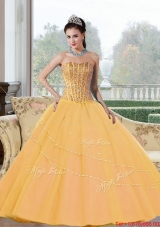 Inexpensive Beading Strapless 2015 Quinceanera Dresses in Gold