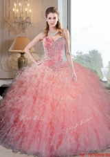 Most Popular Baby Pink Organza Quinceanera Dresses with Beading and Ruffles