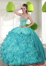 Most Popular Beading and Ruffles Strapless Aqua Blue Quinceanera Dresses for 2015