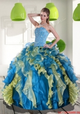 New Style Multi Color Quinceanera Dress with Beading and Ruffles for 2015