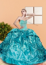 New Stylel Sweetheart Teal Quinceanera Dresses with Beading and Pick Ups