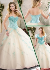 Fashionable Champagne Quinceanera Gowns with Appliques