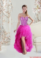 2016 Inexpensive High Low Sweetheart Fuchsia Prom Dresses with Beading and Ruffles