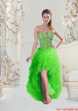 2016 Inexpensive High Low Sweetheart Spring Green Prom Dresses with Beading