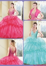 2016 Modest V Neck Quinceanera Dresses with Appliques and Ruffles